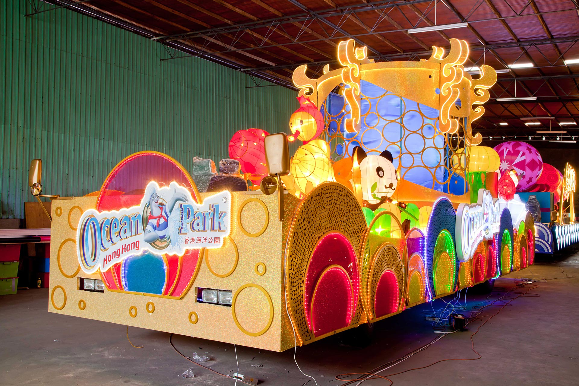 """Photo caption: A glimpse of the """"Light the Way with Ocean Park's New Year Lantern Extravaganza"""" celebration float  If you need more information about the celebration float and Lunar Lucky Fiesta programmes, please contact Ocean Park's Guest Relations Department at 3923 2323."""