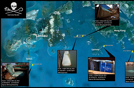 Current locations of the 5 located containers with spilled plastic pellets; 1 container is still missing (Map provided courtesy of Sea Shepherd and Hong Kong Coast Watch