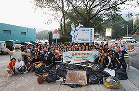 All the volunteers showing the 750 pounds of litter they gathered at the Ocean Park Coastal Cleanup Activity.