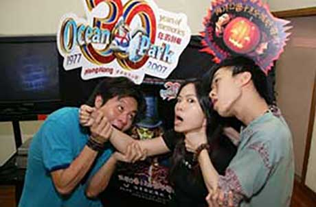 From Left to right: Jan Lam, Veronica Lam and Eric Leung at the Ocean Park Halloween Bash audition.