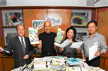 Photo 3 (From the left) Vice-President of Hong Kong Society for Education Mr. Tsang Kui Woon, Ocean Park Chairman Dr. Allan Zeman, Representative from Hong Kong Society for Education in Art Ms. Catherine Leung, Ocean Park's Executive Director for Design & Planning Mr. Alex Chu marvel at almost 50,000 creative entries submitted by the students. Photo taken on 9 May.