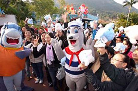 Ocean Park mascots, Whiskers and James Fin H2O, interacting with guests as 150 guests arrived.