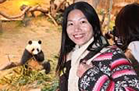 """This is the first time I have seen giant pandas up close. They are really cute and I'm very happy to meet our national treasures here""; said Shenzhen-based Miss Huang, who is in Hong Kong for the first time."