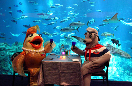 Ocean Park mascots Goldie (left) and Whiskers (right) enjoy a candle-light dinner at Neptune's Restaurant, which is located in the Grand Aquarium