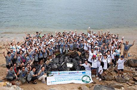 Photo 1: Ocean Park partners with Bank of America Merrill Lynch and Ecovision in hosting this year's International Coastal Cleanup in Hong Kong