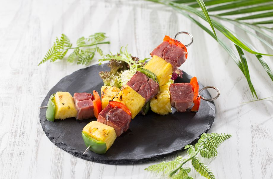 Glazed Ham and Grilled Pineapple Skewer