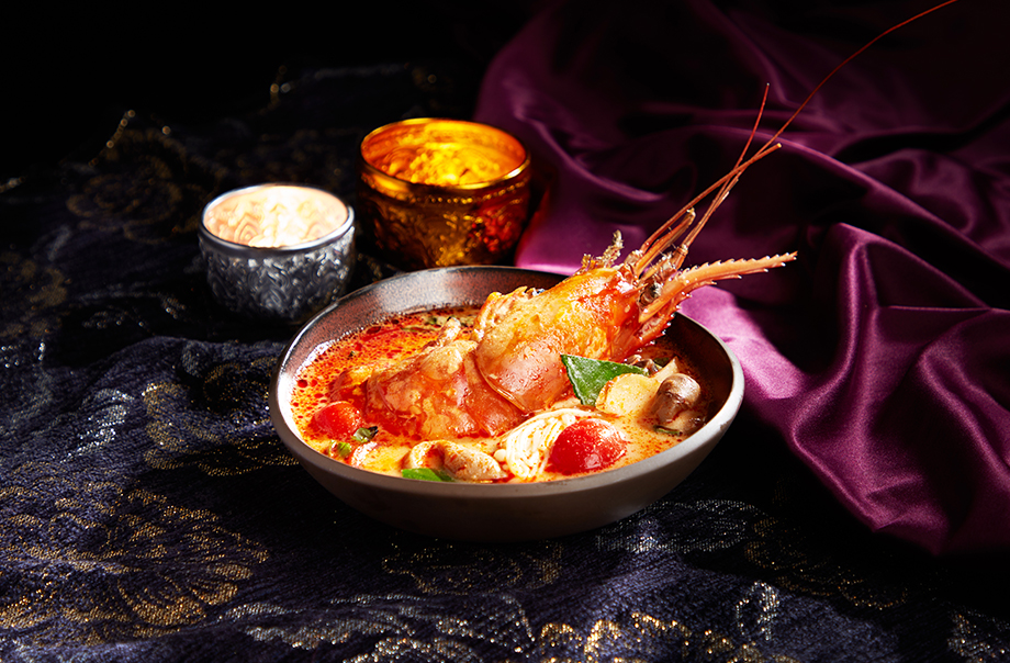 Spicy and Sour Soup with Giant River Prawn and Assorted Mushrooms
