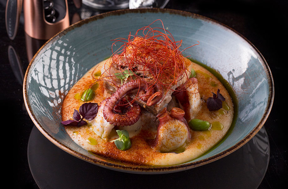 Galician Octopus, Pork Belly with Paprika Potato Foam - Turning sustainable seafood into Western dishes with modern Asia flavours, Mirage is the brand new restaurant at Renaissance Hong Kong Harbour View Hotel.