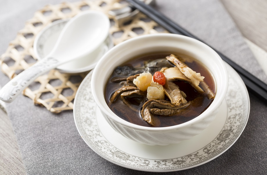 Double-boiled Silky Fowl Consommé with Cepes, Matsutake and Conpoy