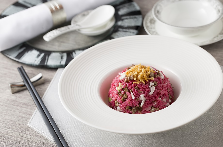 Fried Rice with Minced Wagyu Beef, Beetroots and Egg White