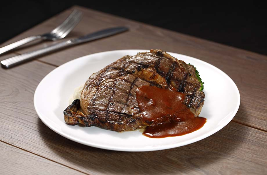 Grilled U.S. 1855 Beef Strip Loin with Red Wine Sauce