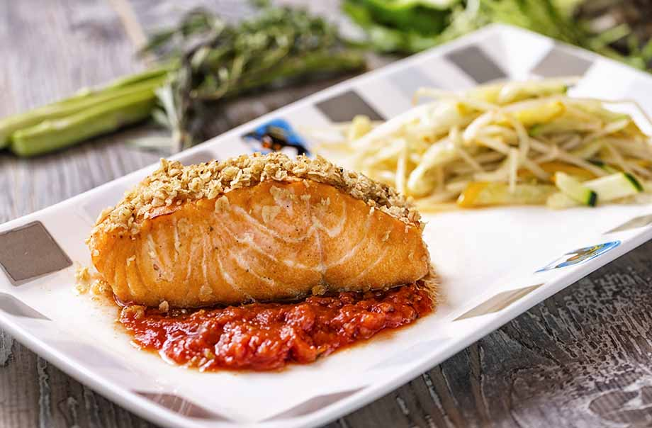 Baked Salmon Fillet with Organic Oat Bran