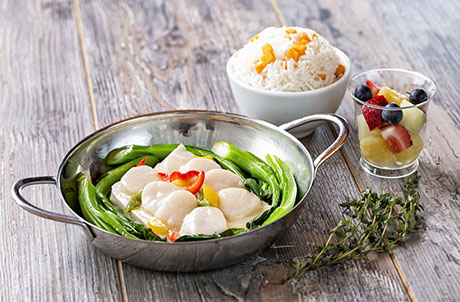 Steamed Scallop and Bean Curd with Pumpkin Rice Served with Seasonal Fresh Fruits
