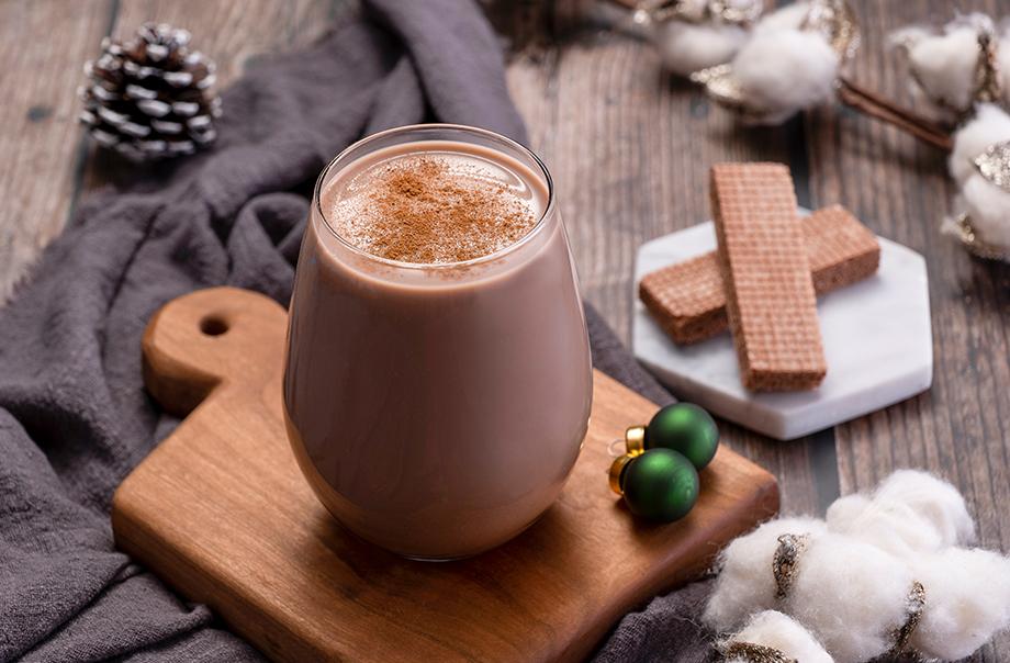 Hot Hazelnut Chocolate Milk with Chocolate Wafer