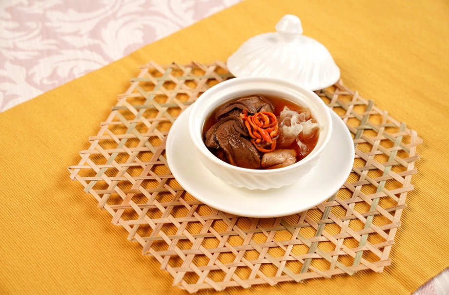 Double-Boiled Pork Consommé with Porcino, Cordyceps Flower and Fungus