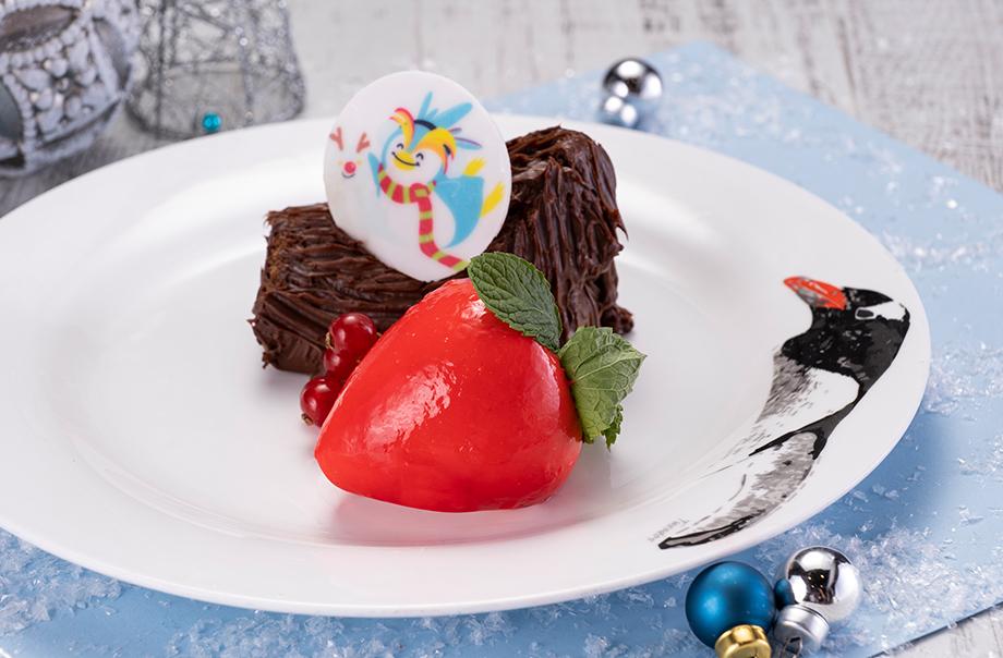 Awayuki Strawberries Mousse and Yule Log Cake with Seasonal Fresh Fruits