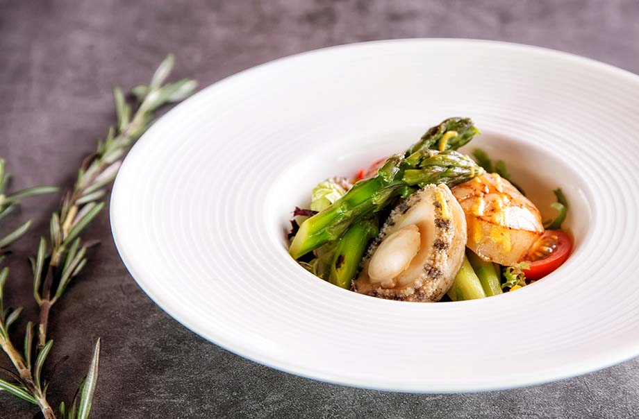 Grilled Asparagus with Jumbo Scallop and Abalone in Bell Pepper Butter Sauce