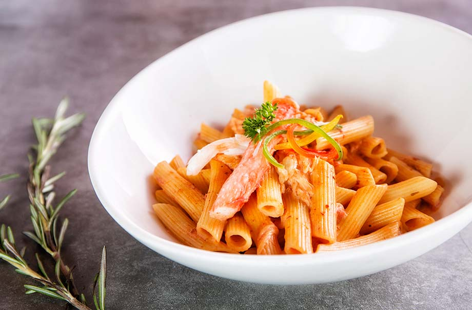 Penne with Alaskan Crab Meat Served with Vodka, Tomato & Chili Cream Sauce